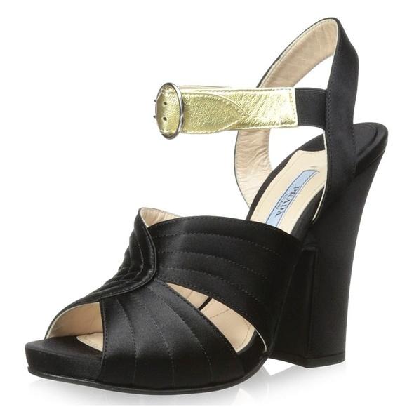 97c4d7ab1a6 PRADA Nero Satin Oro Leather Platform Wedge Heels